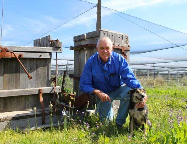 Ferrier grower with his dog