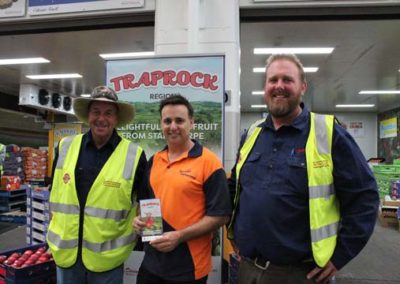 Fenwicks Fruit Emporium Alan with growers at Traprock Region stone fruit launch